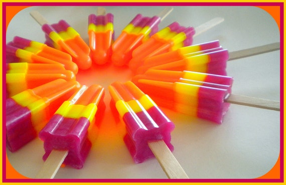 Popsicle Soap - Soapsicle - Pomegranate Mango Papaya - Soap Popsicle - Party Favors - Soap for Kids