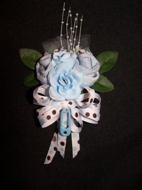 Light Blue Boys Baby Sock Rose Corsage