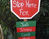 Santa Stop Here personalized yard stake
