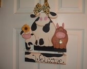 Whimsical Cow Trio Welcome Wall Sign