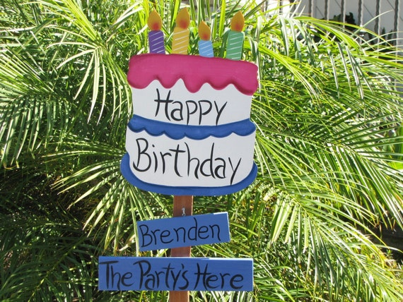 Happy Birthday Personalized Garden Stake By Woodenwhimsie On Etsy