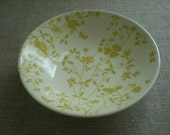 Reserved For Randi Vintage Pale Yellow Petal, Twig and Leaf Bowls