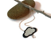 Rain cloud necklace wood cloud silver and glittery black with rain drop wood jewelry