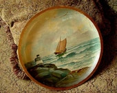 PAINTING Ocean Sailboat Sea Folk Art vintage Oil antique hand painted on wooden plate dish round
