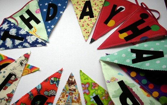 Birthday Bunting Garland, HAPPY BIRTHDAY Bunting, fabric Flags (C)