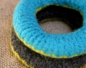 Hand Knit Felted Bangles in Key Lime, Charcoal Gray and Turquoise