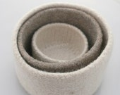 Oatmeal and Winter White Felted Knit Nesting Bowls