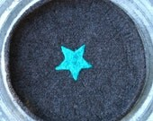 Large Charcoal Gray felted bowl or Mouse Pad with Turquoise Star