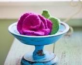 Felted Knit Rose Brooch