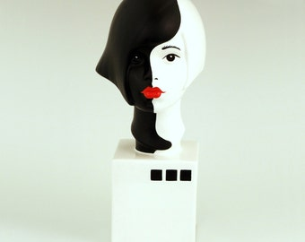 Sculpture Ceramic Bust Female Serena Light and Shadow  Ltd ed 75