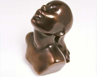 "Sculpture Ceramic Bust Female EMERGENCE bronze 7""x6"" Ltd ed 75"