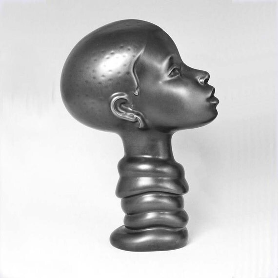 Sculpture Ceramic Bust Female BANTU PRINCESS  pewter Ltd. ed. 75