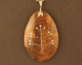 Curly Walnut Pendant with Silver Inlaid Tree
