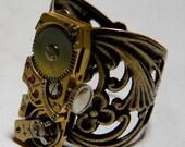 Vintage Steampunk Adjustable Filigree Watch Movement Brass Ring