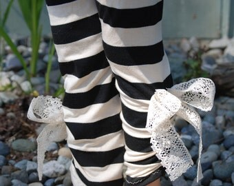 Girls Stripe Leggings with Vintage Bow