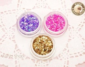 3 Colors Glitter Sparkle Dust Powder Nail Art Craft (A03) Purple / Pink / Gold