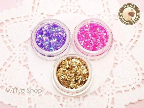 3 Colors Glitter Sparkle Dust Powder Nail Art Craft (A03) Purple / Pink / Gold