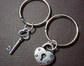 Key to my heart keychains  - two keychains with heart lock and key charms to celebrate love - for couples and best friends