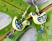 Pale yellow & blue bird earrings with tiny blue flowers on silver earwires -Free Shipping USA