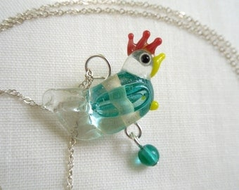 Henrietta necklace - clear glass chicken on sterling silver chain- adorable hen or rooster -Free Shipping USA