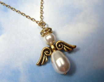 Golden Angel necklace - Swarovski pearls, gold plated pewter wings and Swarovski crystal halo on 14k gold filled chain -Free Shipping USA