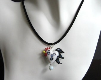 Chicken & Egg necklace - wonderful lampwork glass chicken and egg on a microsuede cord -Free Shipping USA