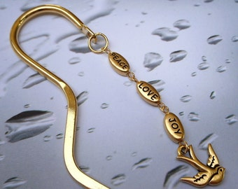 Peace Love and Joy Bookmark in Gold - great gift for readers -Free Shipping USA