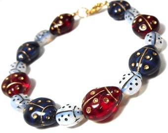 Red white and blue ladybugs bracelet - glass beads with gold inlay - patriotic 4th of July colors -Free Shipping USA