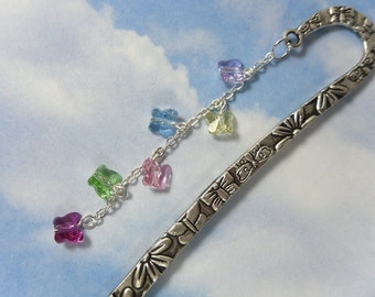 Bookmark - butterflies and flowers - Swarovski crystal butterflies in purple, yellow, blue, pink, green and magenta