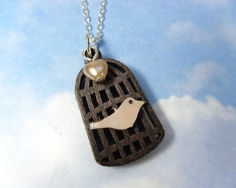 Birdie in a cage necklace - wood bird cage, pale pink pearl bird bead & heart, sterling silver chain -Free Shipping USA- child to plus size