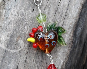 Cola the Rooster key chain or purse clip - lampwork glass brown & green chicken, red glass flower, green star, large clasp