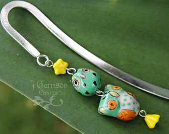 Owl duo bookmark - 2 green & orange owls, yellow star and flower, silver bookmark - great gift -Free Shipping USA