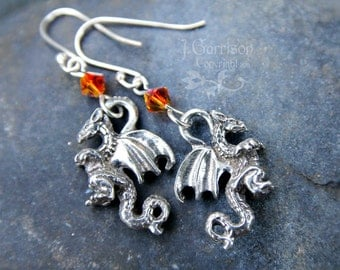 Winged Dragon earrings, fiery orange crystal, sterling silver hooks - other colors including birthstones available - Free Shipping USA