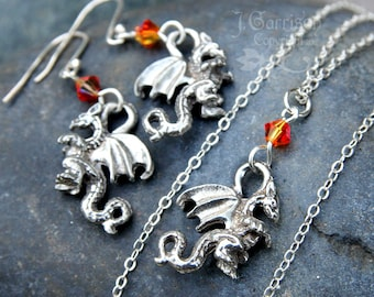 Winged Dragon necklace & earring set - silver plated charms, fire opal orange crystals, sterling silver chain and hooks -Free Shipping USA