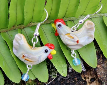 Little Brown Hen earrings - cute chicken lampwork bead with blue glass egg on silver ear wires -Free Shipping USA