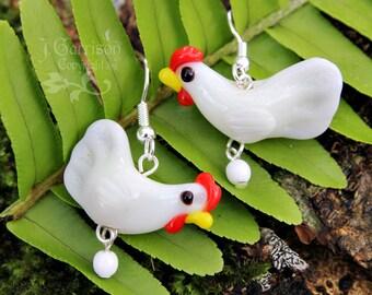 Little white hen earrings - chicken lampwork bead, white glass egg, silver ear wires -Free Shipping USA