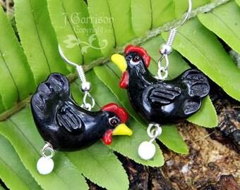 Little Black Hen earrings - chicken lampwork bead, white glass egg, silver ear wires- Free Shipping in USA