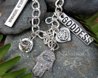 Good Witch Charm Bracelet - silver- wicca pagan goddess witch themed charms on chunky chain - occult -Free Shipping USA