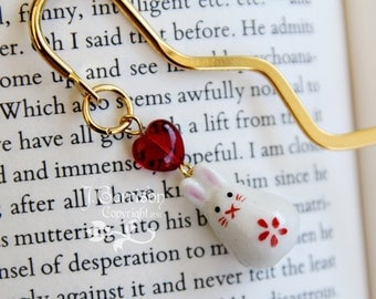Posh Bunny bookmark - adorable painted ceramic rabbit and red glass heart on gold plated bookmark -Free Shipping USA