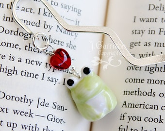 Sweet Frog bookmark, light green porcelain frog & red glass heart on a silver plated metal bookmark -Free Shipping USA
