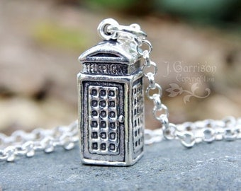 London Calling Necklace - British Phone Booth - Sterling silver pendant & chain - for UK fans - free shipping in USA