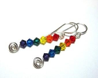 Rainbow earrings - swarovski crystal beads on sterling silver ear wires -kawaii pride - Free Shipping USA