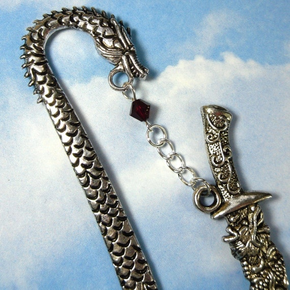 Dragon and Sword Bookmark - silver tone detailed bookmark with blood red crystal - perfect for fantasy lovers