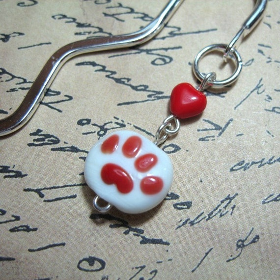 Pet Love Bookmark - adorable red dog or cat pawprint and heart bead on silver plated bookmark -Free Shipping USA