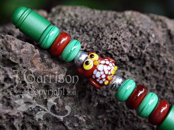 Woodsy Owl Pen - sweet lampwork glass owl, green & brown beads on an emerald green ballpoint pen