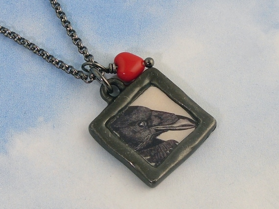 Black Raven & Red Heart necklace - gunmetal black picture charm, glass heart bead, gunmetal chain -Free Shipping USA