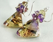 Earrings,Ametrine,Amethyst,Honey Quartz,Silver,Iridian Mirage
