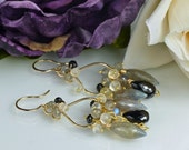 Labradorite Chandelier Earrings Moonstone Black Spinel Gemstone Earrings 14k Gold Filled , Whispers In The Dark
