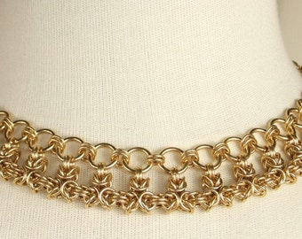14k Gold Filled Thick Hand Woven Chain Necklace, Chainmaille Necklace