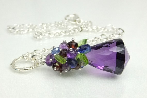 Reserved-Storewide Sale-Necklace, Sterling Silver, Amethyst, Garnet, Peridot, Kyanite